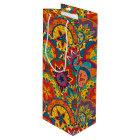 Funky Retro Colourful Mandala Pattern Wine Gift Bag