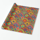 Funky Retro Colourful Mandala Pattern Wrapping Paper