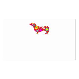 Funky retro floral cute dachshund dog blank custom business card