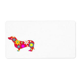 Funky retro floral dachshund dog custom blank shipping label