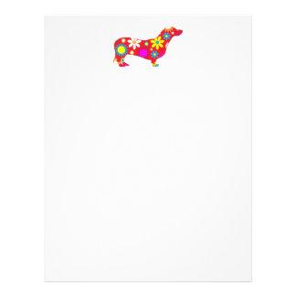 Funky retro floral dachshund dog letterhead