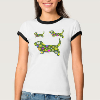 Funky Retro Floral Doggie T-Shirt
