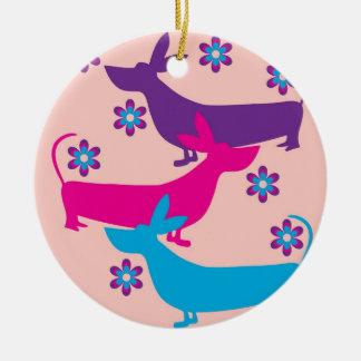 Funky retro fun basset hound dog ornament