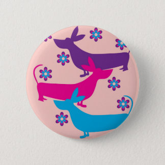 Funky retro fun floral basset hound dog button