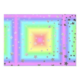 Funky Retro Girly Bright Pastel Rainbow Blur Card