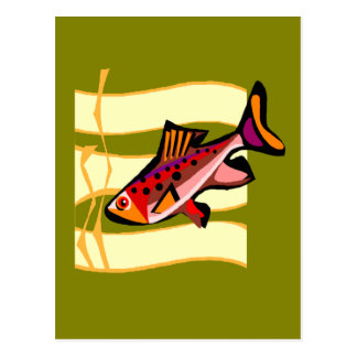 Funky Retro Green and Red Tropical Fish Postcard