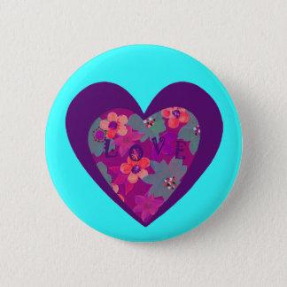 Funky Retro Love Button w/Heart & Flower Power