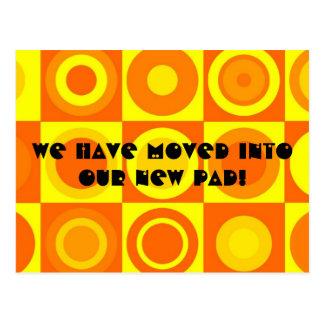 Funky Retro Orange Change of Address Postcard