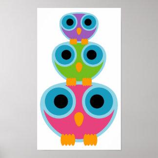 funky RETRO OWL kid's room poster print