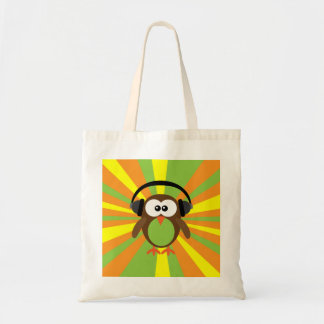 Funky Retro Owl With Headphones Psychedelic Tote Bag