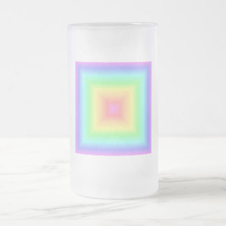 Funky Retro Pastel Rainbow Geometric Abstract Blur Frosted Glass Mug