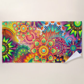 Funky Retro Pattern Abstract Bohemian Beach Towel
