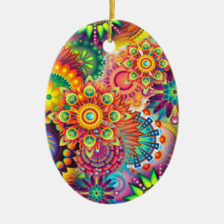Funky Retro Pattern Abstract Bohemian Ceramic Oval Ornament