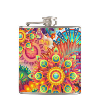 Funky Retro Pattern Abstract Bohemian Flask