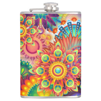 Funky Retro Pattern Abstract Bohemian Hip Flask