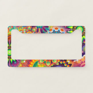 Funky Retro Pattern Abstract Bohemian License Plate Frame