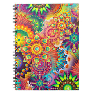 Funky Retro Pattern Abstract Bohemian Notebooks