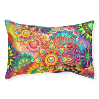 Funky Retro Pattern Abstract Bohemian Pet Bed