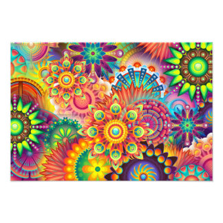 Funky Retro Pattern Abstract Bohemian Photographic Print