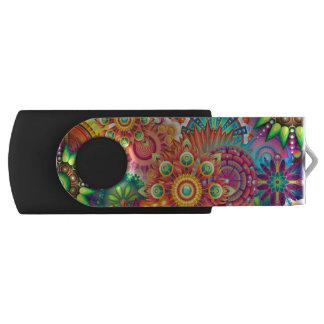 Funky Retro Pattern Abstract Bohemian Swivel USB 3.0 Flash Drive
