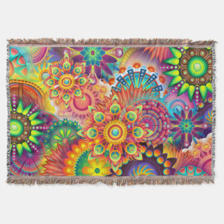Funky Retro Pattern Abstract Bohemian Throw Blanket