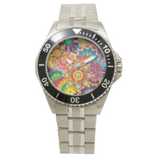Funky Retro Pattern Abstract Bohemian Watch
