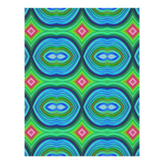 Funky Retro Pattern Blue Green Pink and Multi Custom Flyer