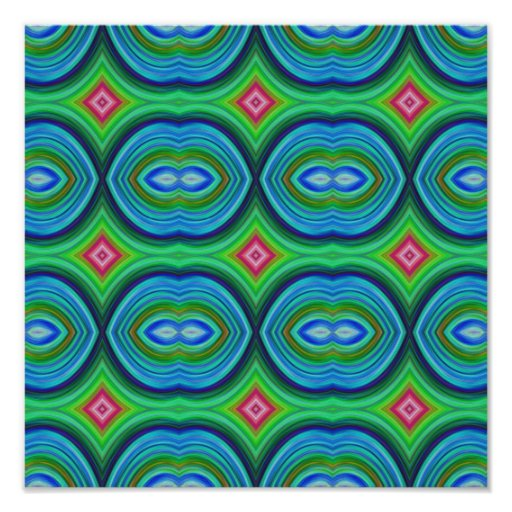 Funky Retro Pattern. Blue, Green, Pink and Multi. Print