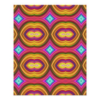Funky Retro Pattern Orange Red and Multi Full Color Flyer