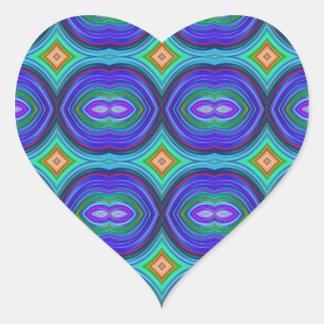 Funky Retro Pattern. Purple, Turquoise and Multi. Heart Sticker