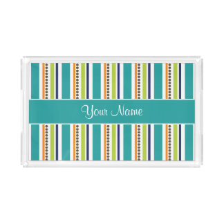Funky Retro Stripes and Spots Acrylic Tray
