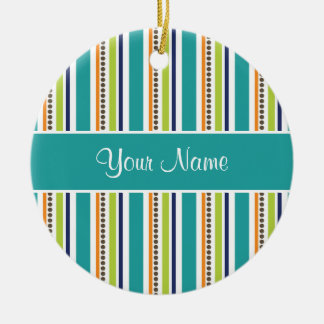 Funky Retro Stripes and Spots Ceramic Ornament