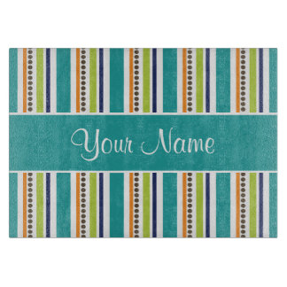 Funky Retro Stripes and Spots Cutting Board