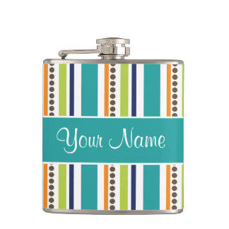 Funky Retro Stripes and Spots Flask