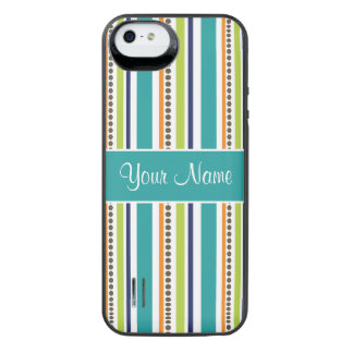 Funky Retro Stripes and Spots iPhone SE/5/5s Battery Case