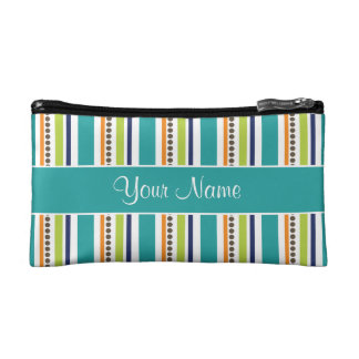 Funky Retro Stripes and Spots Makeup Bag