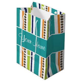 Funky Retro Stripes and Spots Medium Gift Bag