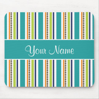 Funky Retro Stripes and Spots Mouse Pad