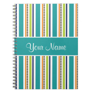 Funky Retro Stripes and Spots Notebook