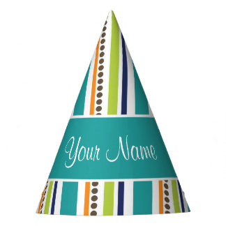 Funky Retro Stripes and Spots Party Hat