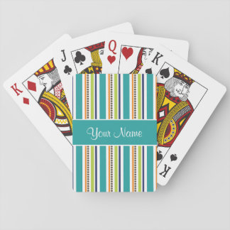Funky Retro Stripes and Spots Playing Cards