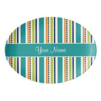 Funky Retro Stripes and Spots Porcelain Serving Platter