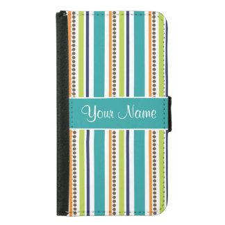 Funky Retro Stripes and Spots Samsung Galaxy S5 Wallet Case