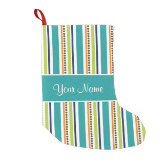 Funky Retro Stripes and Spots Small Christmas Stocking