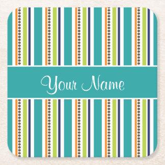 Funky Retro Stripes and Spots Square Paper Coaster