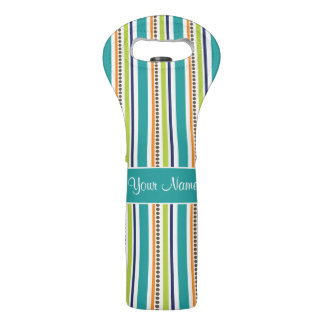 Funky Retro Stripes and Spots Wine Bag
