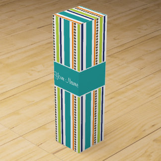 Funky Retro Stripes and Spots Wine Gift Box