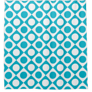 Funky Retro Teal Blue and White Patterned