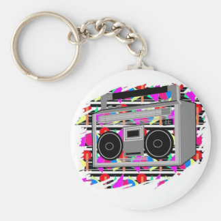 FUNKY RETRO VINTAGE  80s TAPE PLAYER Basic Round Button Keychain