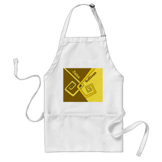 Funky Retro Yellow Lines Brown Yellow Kids Crafts Standard Apron